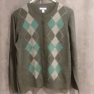 3/$20. Croft and Barrow cardigan, teal and grey, M